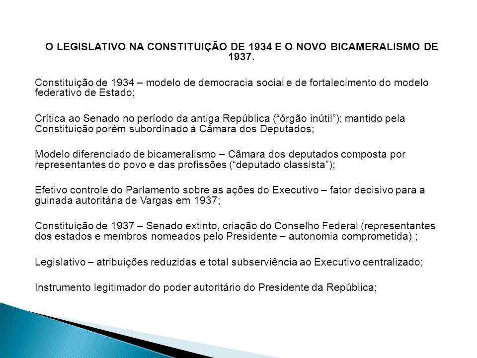 O LEGISLATIVO NA CONSTITUIÇÃO DE 1934 E O NOVO BICAMERALISMO DE 1937.