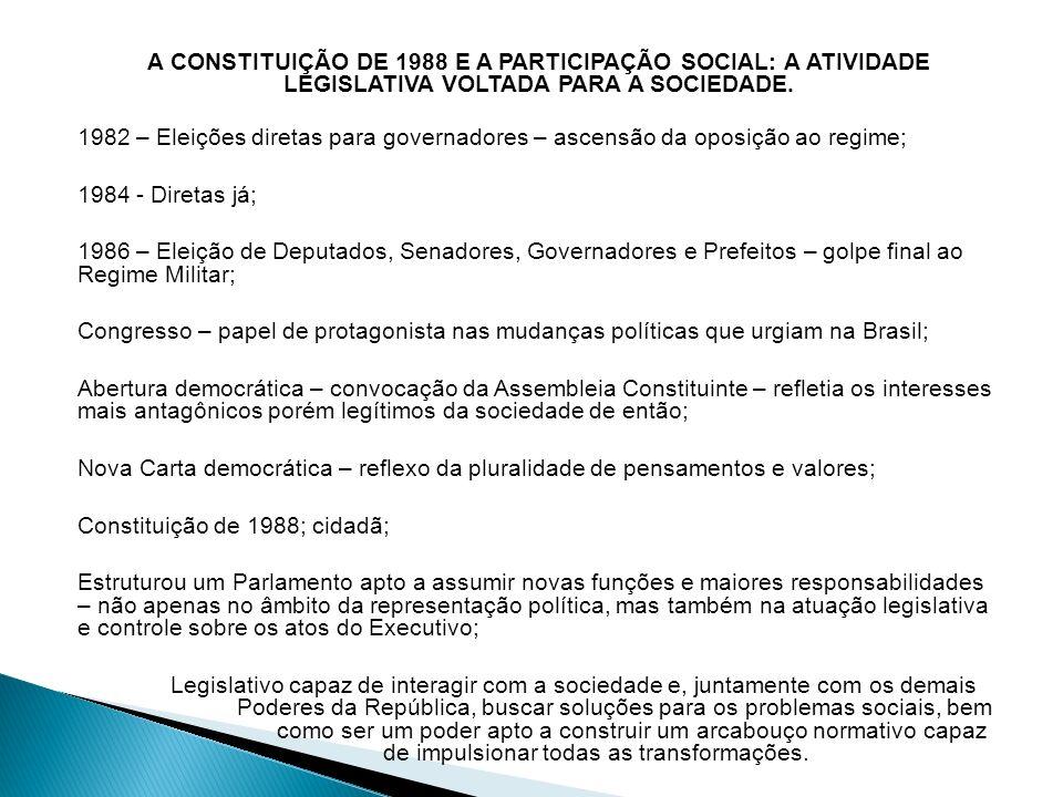 A CONSTITUIÇÃO DE 1988 E A PARTICIPAÇÃO SOCIAL: A ATIVIDADE LEGISLATIVA VOLTADA PARA A SOCIEDADE.