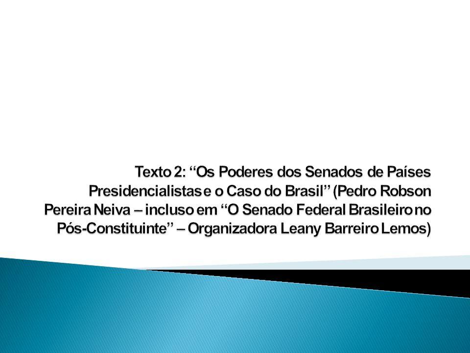 Texto 2: Os Poderes dos Senados de Países Presidencialistas e o Caso do Brasil (Pedro Robson Pereira Neiva – incluso em O Senado Federal Brasileiro no Pós-Constituinte – Organizadora Leany Barreiro Lemos)
