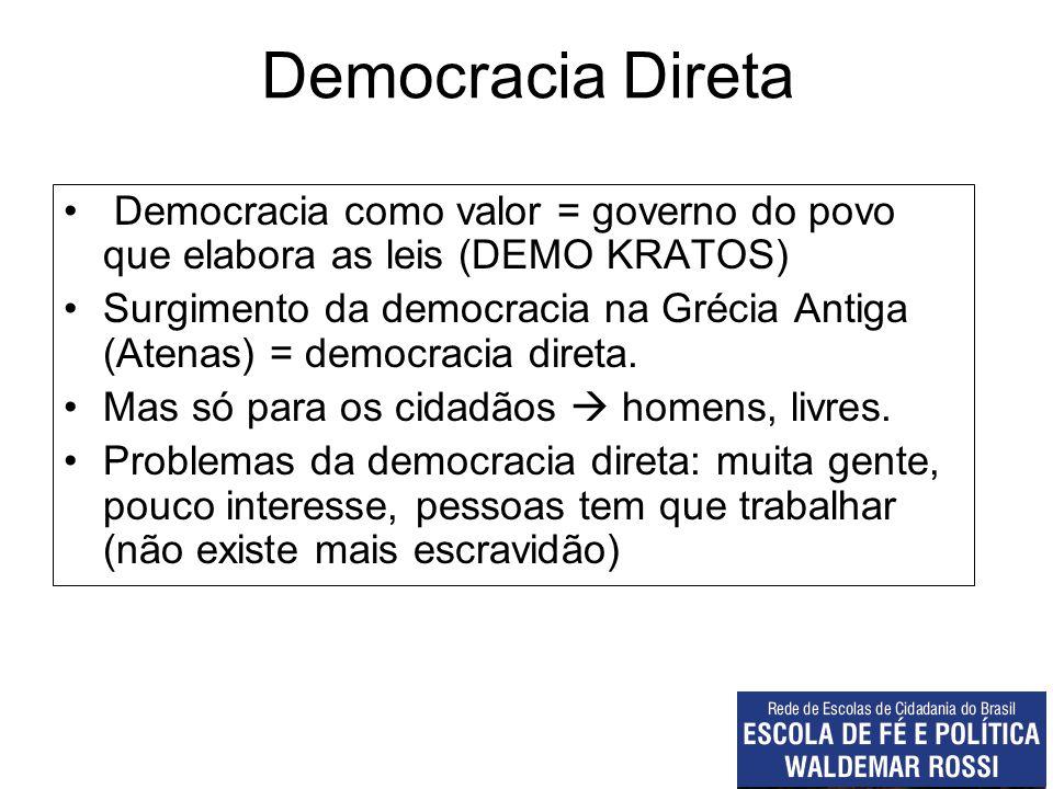 Democracia Direta Democracia como valor = governo do povo que elabora as leis (DEMO KRATOS)
