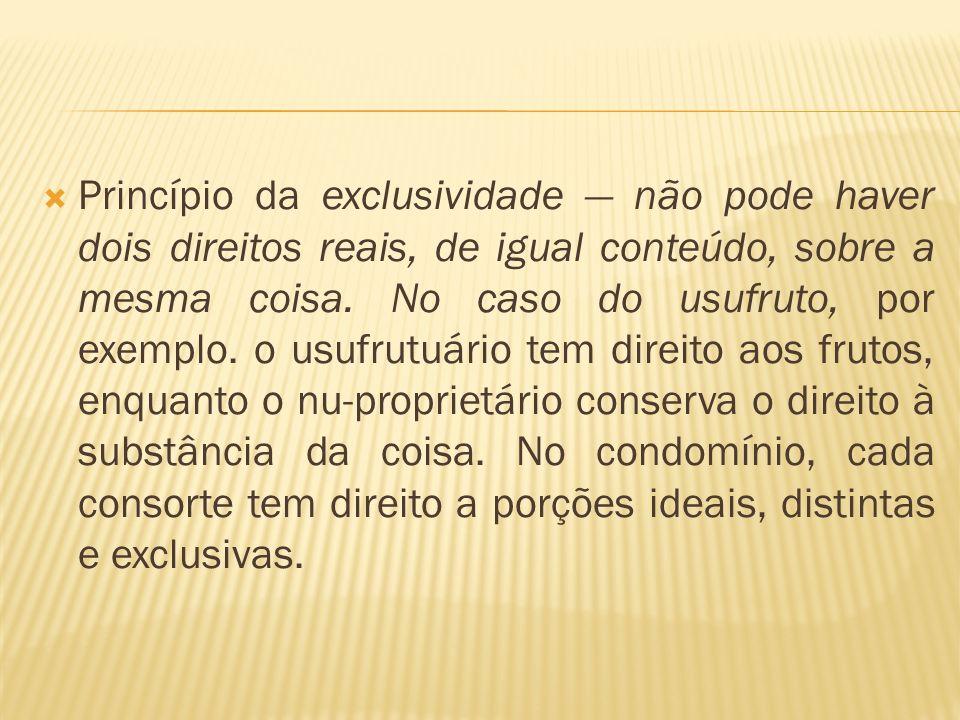 Princípio da exclusividade — não pode haver dois direitos reais, de igual conteúdo, sobre a mesma coisa.