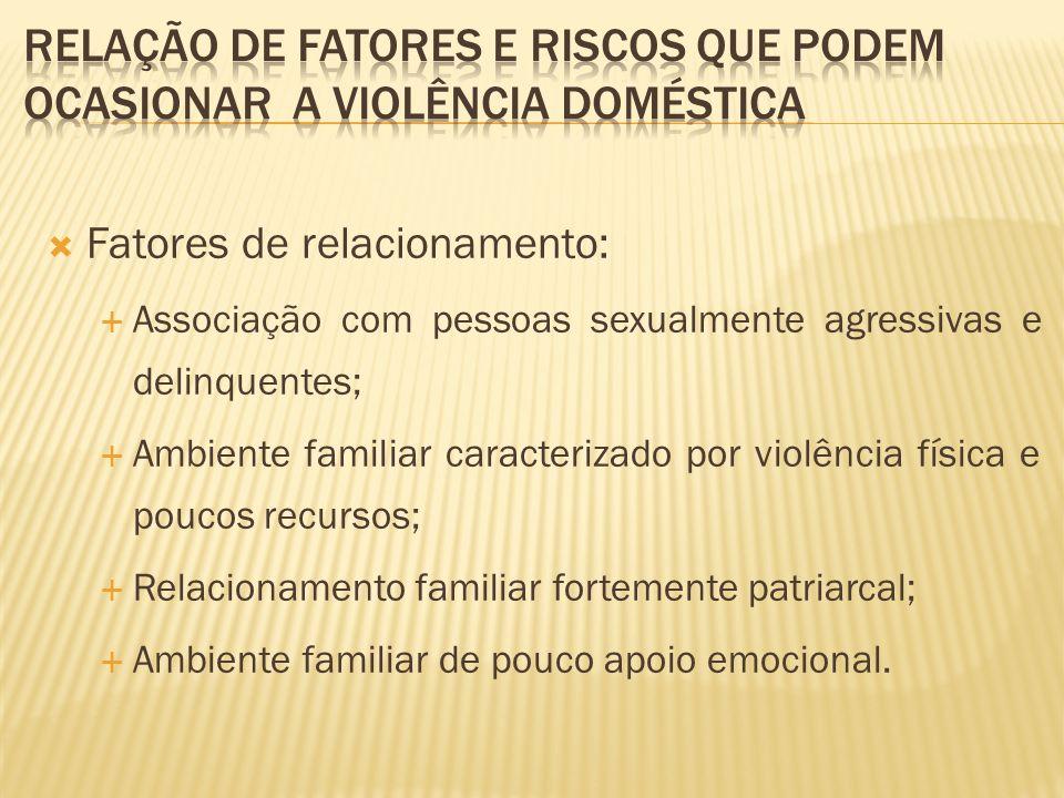 Relação de fatores e riscos que podem ocasionar a violência doméstica