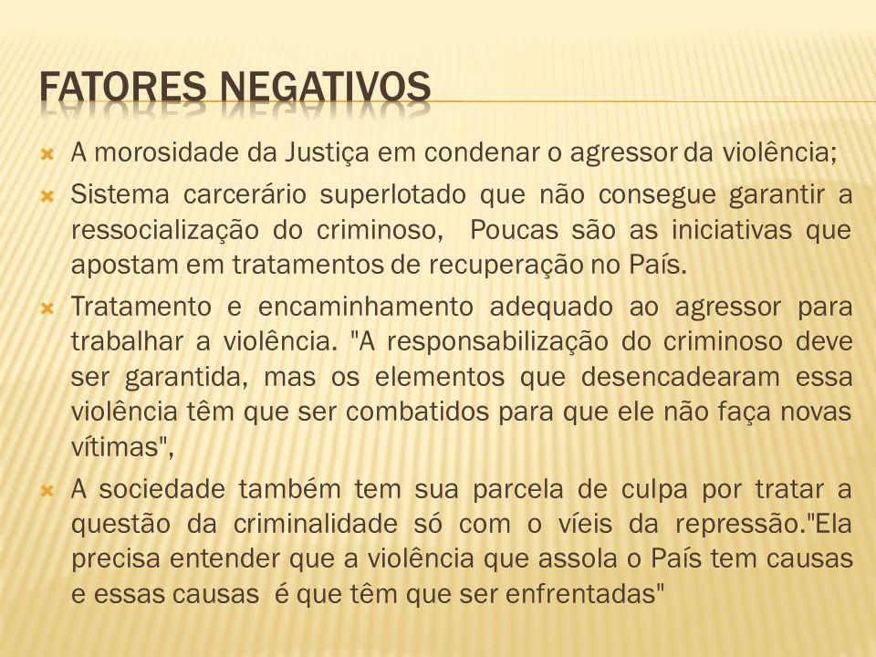 FATORES NEGATIVOS A morosidade da Justiça em condenar o agressor da violência;
