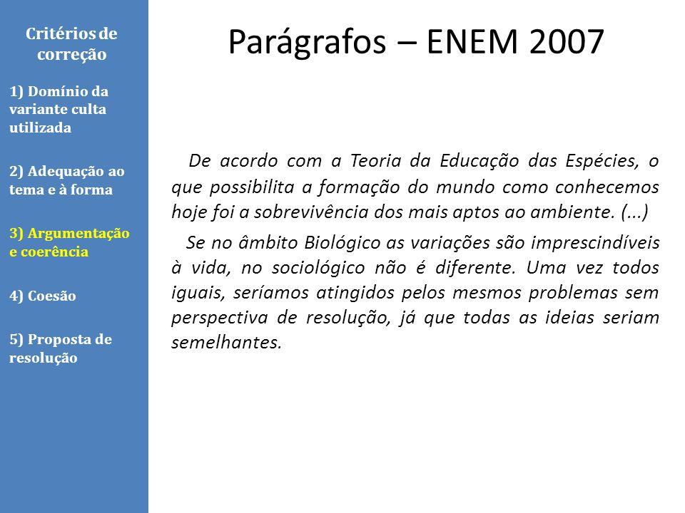 Parágrafos – ENEM 2007 Critérios de correção. 1) Domínio da variante culta utilizada. 2) Adequação ao tema e à forma.