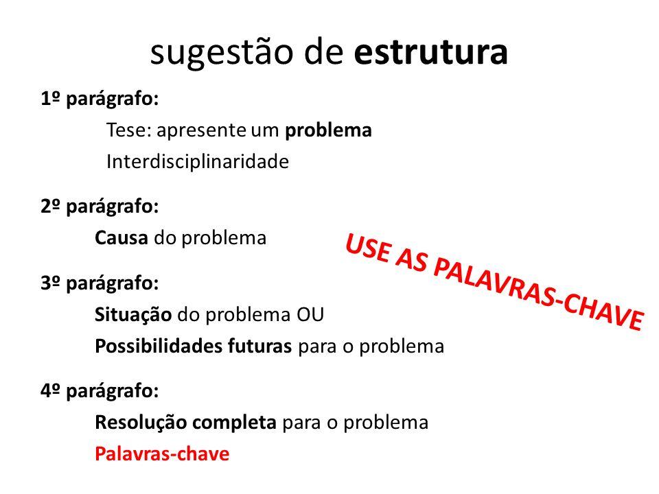 sugestão de estrutura USE AS PALAVRAS-CHAVE