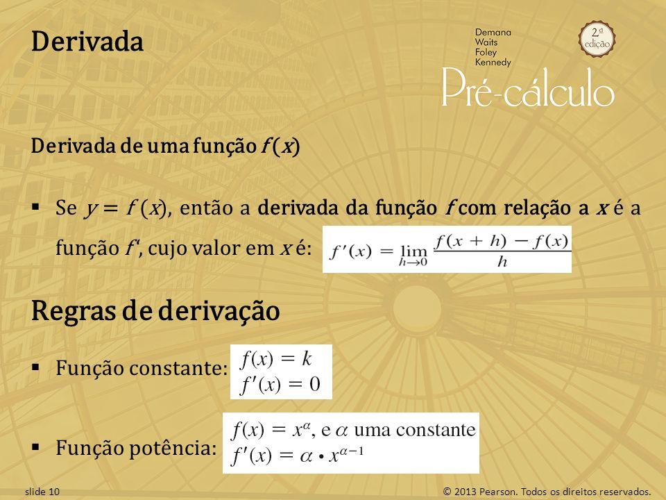 Derivada Regras de derivação Derivada de uma função f (x)