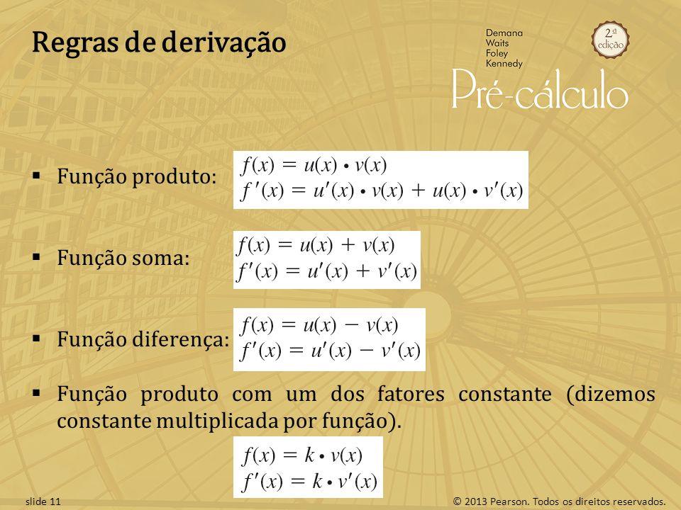 Regras de derivação Função produto: Função soma: Função diferença: