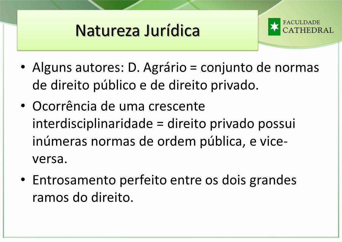 Natureza Jurídica Alguns autores: D. Agrário = conjunto de normas de direito público e de direito privado.