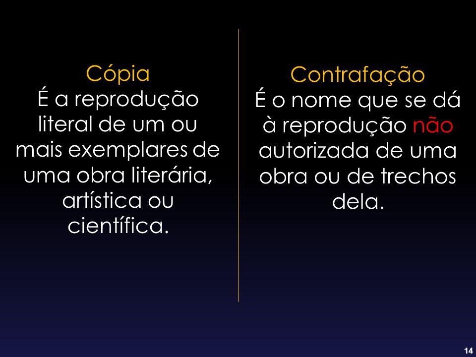 Cópia É a reprodução literal de um ou mais exemplares de uma obra literária, artística ou científica.