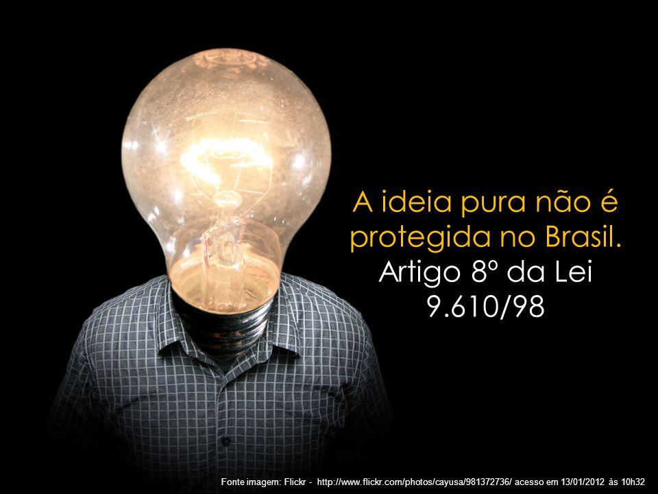 A ideia pura não é protegida no Brasil.