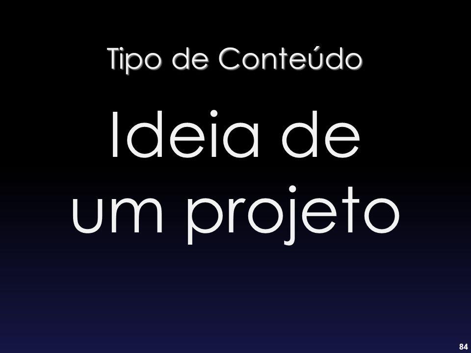 Tipo de Conteúdo Ideia de um projeto