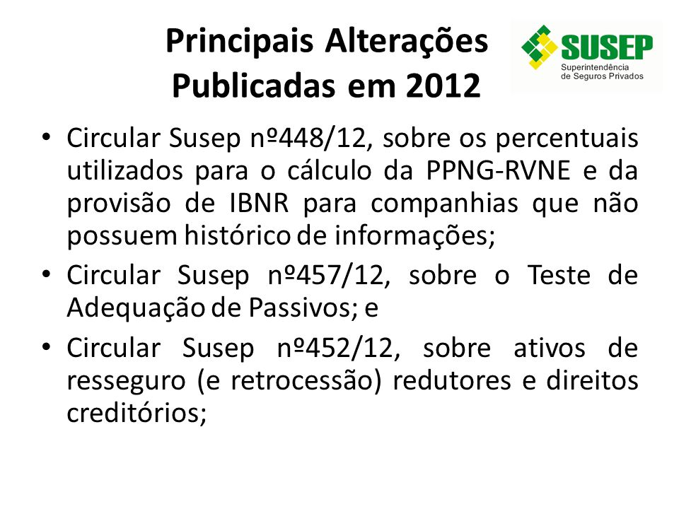 Principais Alterações Publicadas em 2012