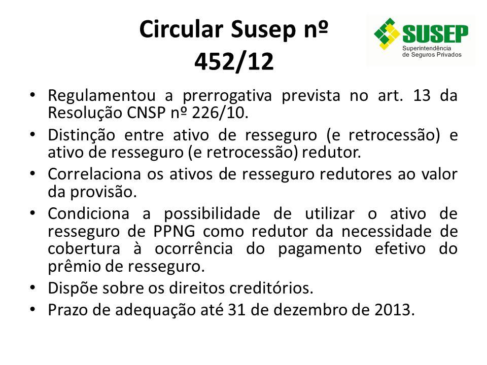 Circular Susep nº 452/12 Regulamentou a prerrogativa prevista no art. 13 da Resolução CNSP nº 226/10.
