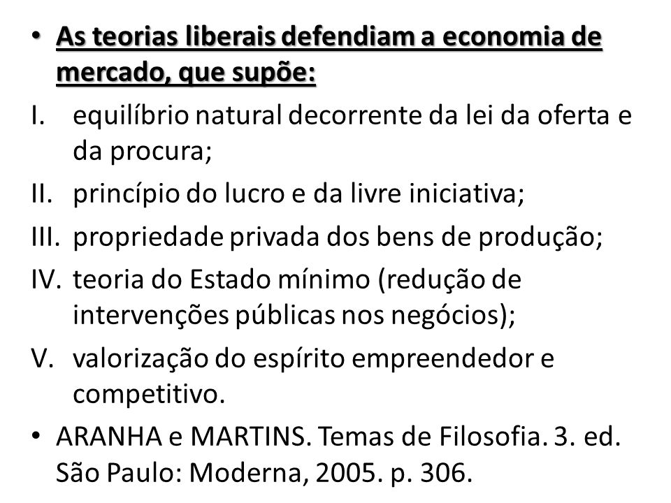 As teorias liberais defendiam a economia de mercado, que supõe: