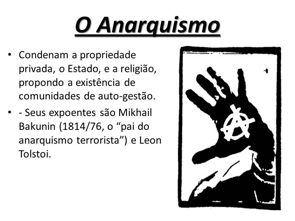 O Anarquismo Condenam a propriedade privada, o Estado, e a religião, propondo a existência de comunidades de auto-gestão.