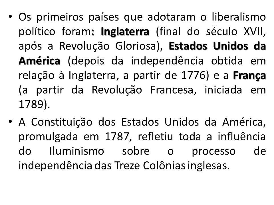 Os primeiros países que adotaram o liberalismo político foram: Inglaterra (final do século XVII, após a Revolução Gloriosa), Estados Unidos da América (depois da independência obtida em relação à Inglaterra, a partir de 1776) e a França (a partir da Revolução Francesa, iniciada em 1789).