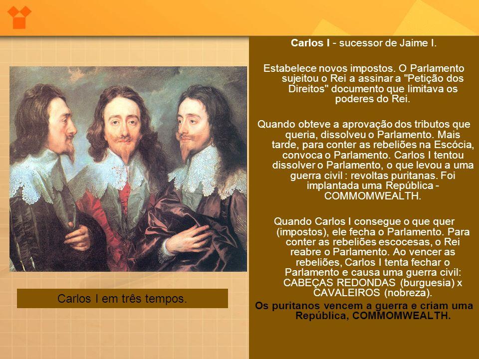 Os puritanos vencem a guerra e criam uma República, COMMOMWEALTH.
