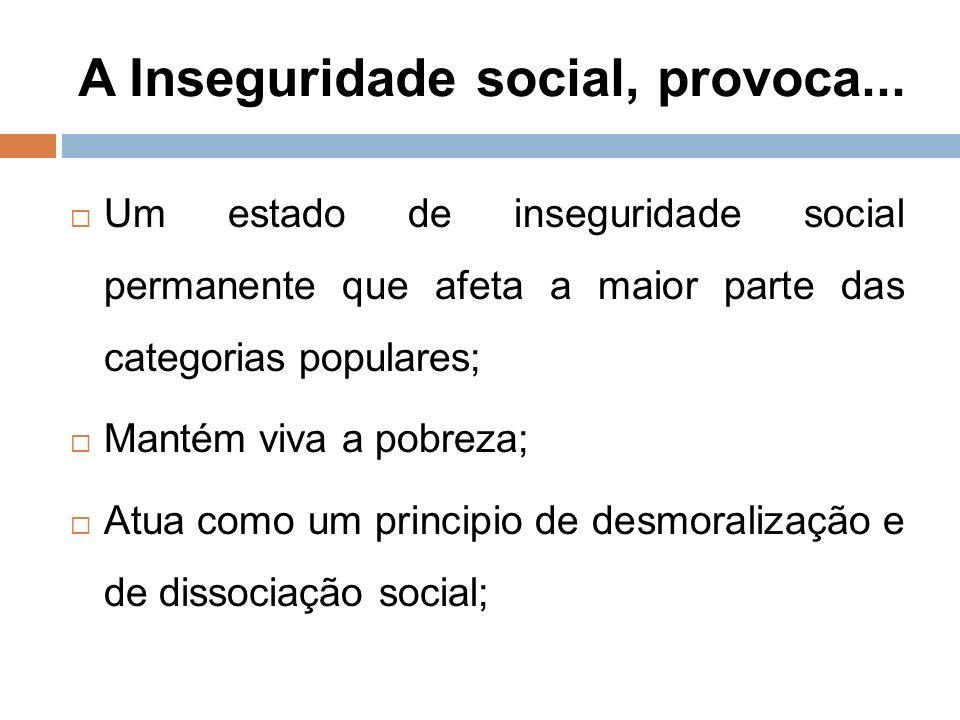 A Inseguridade social, provoca...