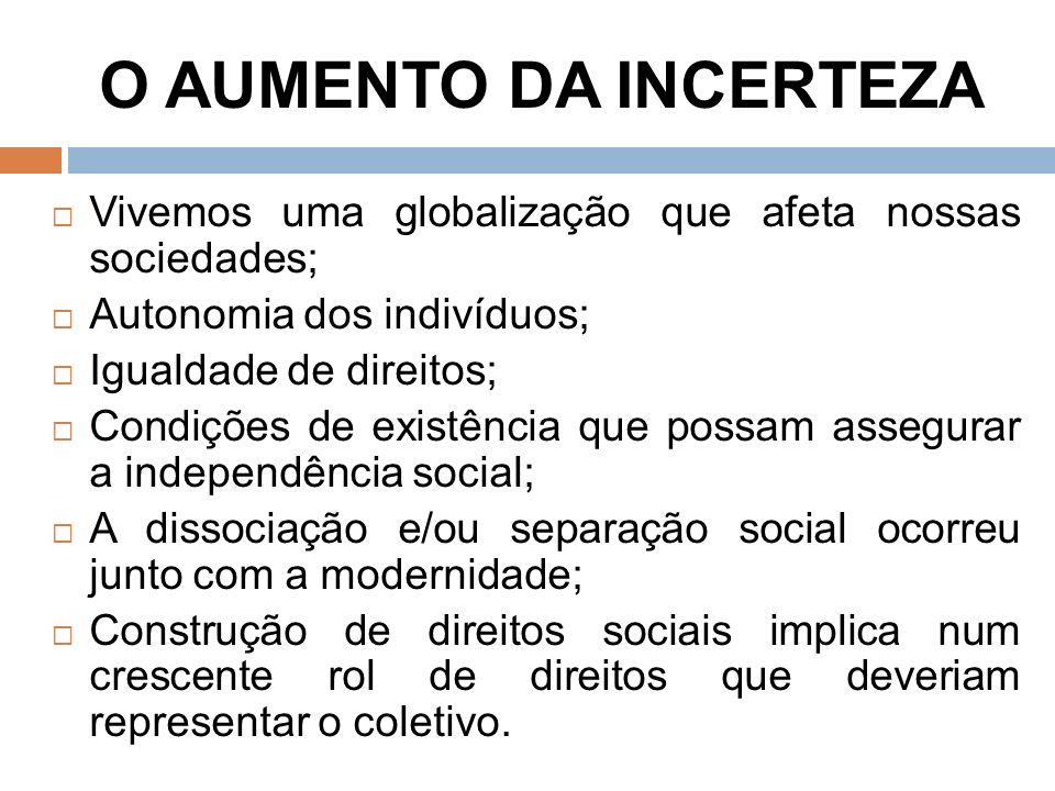 O AUMENTO DA INCERTEZA Vivemos uma globalização que afeta nossas sociedades; Autonomia dos indivíduos;