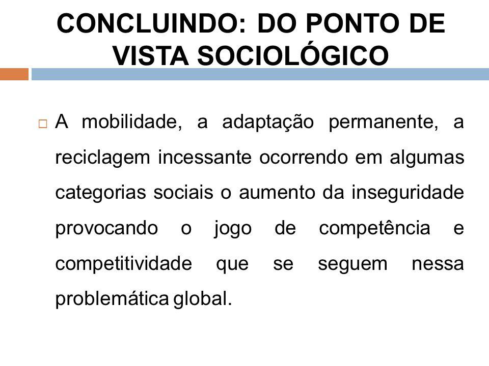 CONCLUINDO: DO PONTO DE VISTA SOCIOLÓGICO