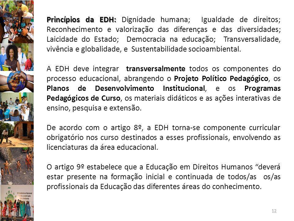 Princípios da EDH: Dignidade humana; Igualdade de direitos; Reconhecimento e valorização das diferenças e das diversidades; Laicidade do Estado; Democracia na educação; Transversalidade, vivência e globalidade, e Sustentabilidade socioambiental.