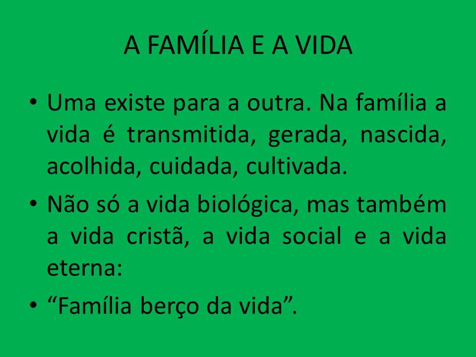 A FAMÍLIA E A VIDA Uma existe para a outra. Na família a vida é transmitida, gerada, nascida, acolhida, cuidada, cultivada.