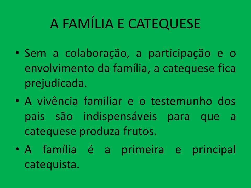 A FAMÍLIA E CATEQUESE Sem a colaboração, a participação e o envolvimento da família, a catequese fica prejudicada.