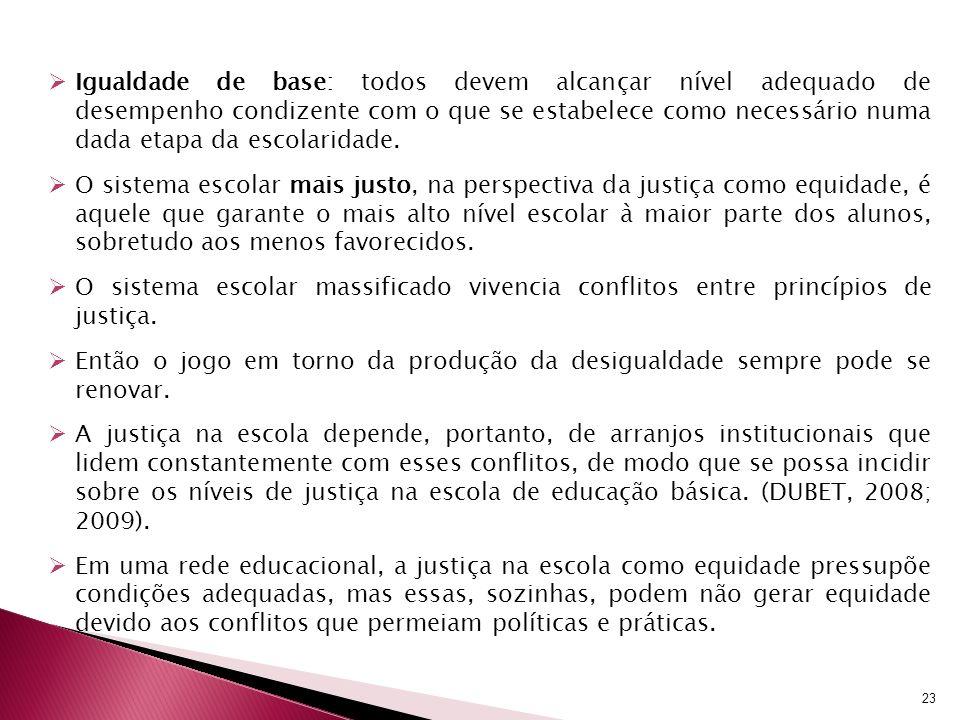 Igualdade de base: todos devem alcançar nível adequado de desempenho condizente com o que se estabelece como necessário numa dada etapa da escolaridade.