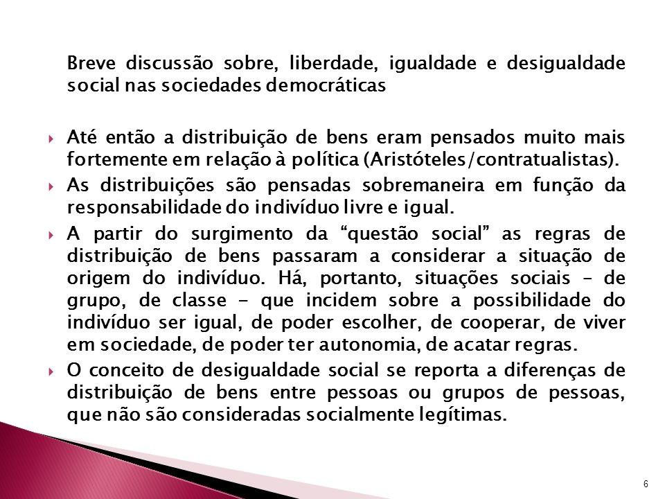 Breve discussão sobre, liberdade, igualdade e desigualdade social nas sociedades democráticas