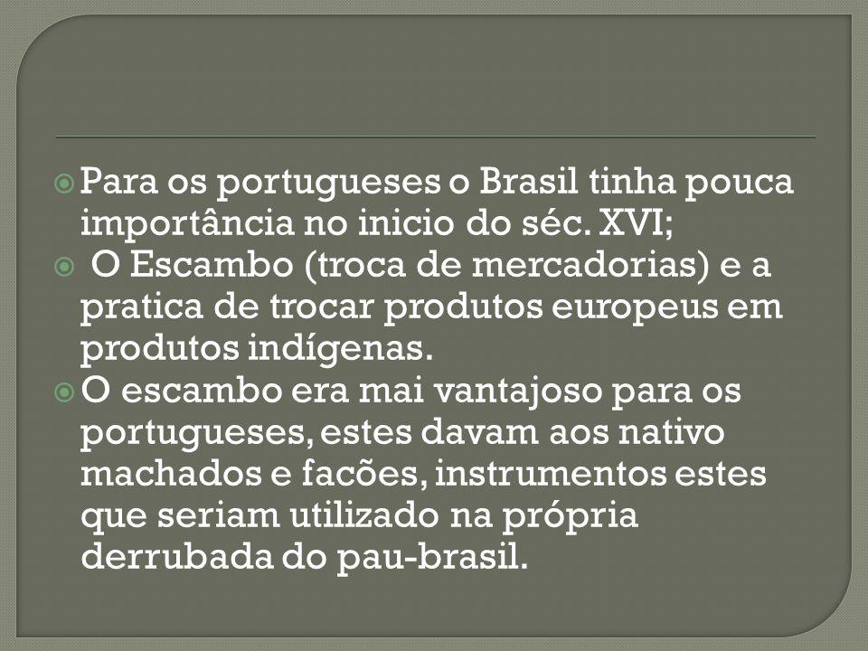 Para os portugueses o Brasil tinha pouca importância no inicio do séc