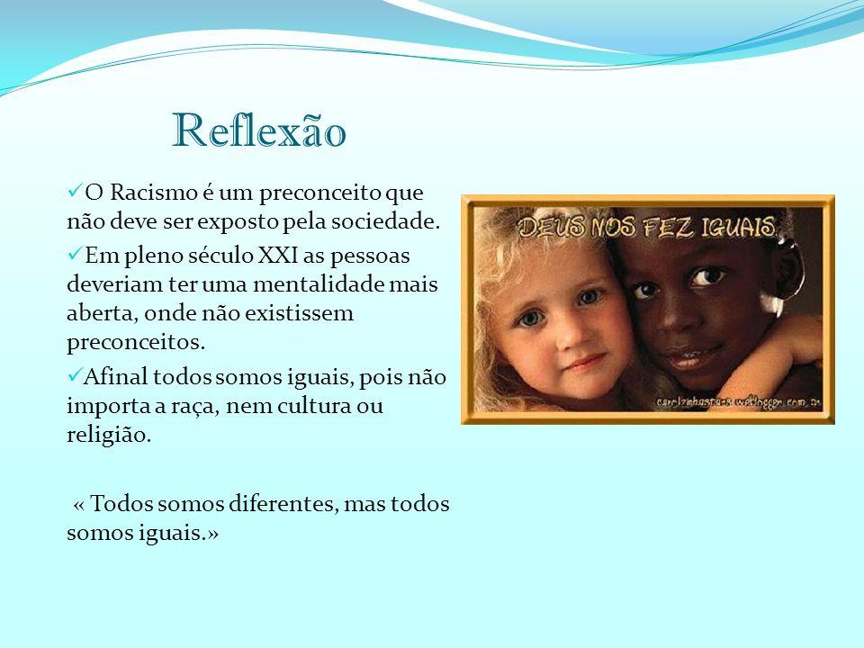 Reflexão O Racismo é um preconceito que não deve ser exposto pela sociedade.