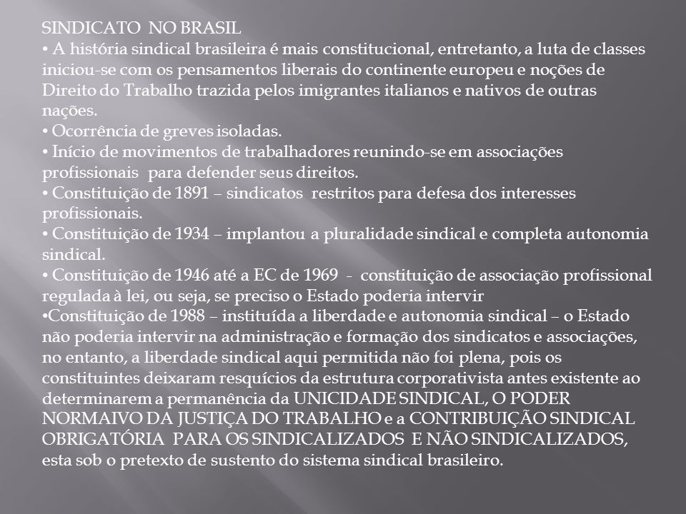 SINDICATO NO BRASIL