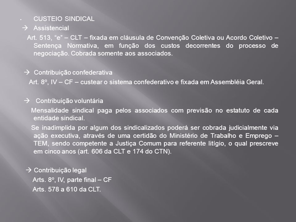 CUSTEIO SINDICAL  Assistencial.