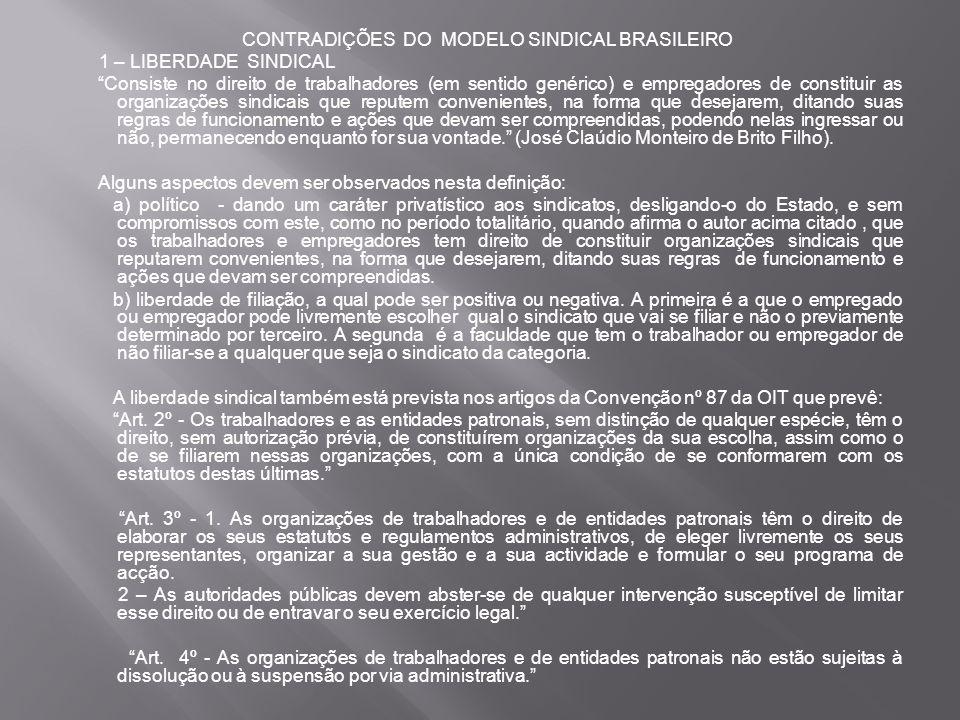 CONTRADIÇÕES DO MODELO SINDICAL BRASILEIRO 1 – LIBERDADE SINDICAL Consiste no direito de trabalhadores (em sentido genérico) e empregadores de constituir as organizações sindicais que reputem convenientes, na forma que desejarem, ditando suas regras de funcionamento e ações que devam ser compreendidas, podendo nelas ingressar ou não, permanecendo enquanto for sua vontade. (José Claúdio Monteiro de Brito Filho).