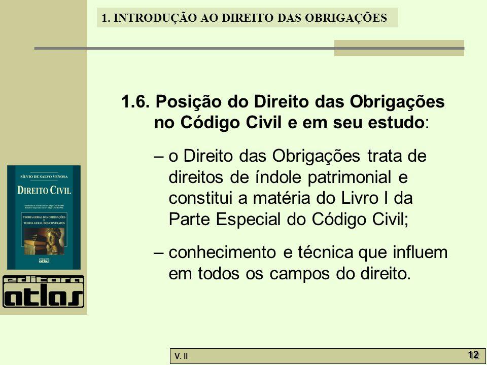 1.6. Posição do Direito das Obrigações no Código Civil e em seu estudo: