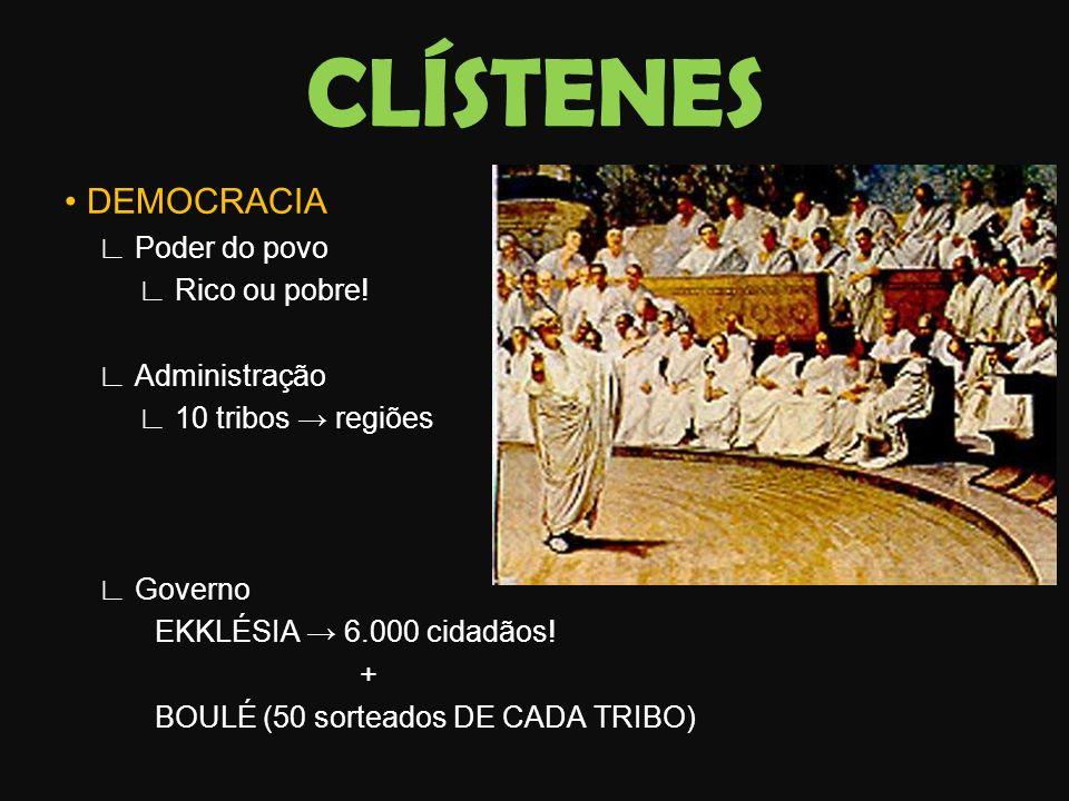 CLÍSTENES • DEMOCRACIA ∟ Poder do povo ∟ Rico ou pobre!