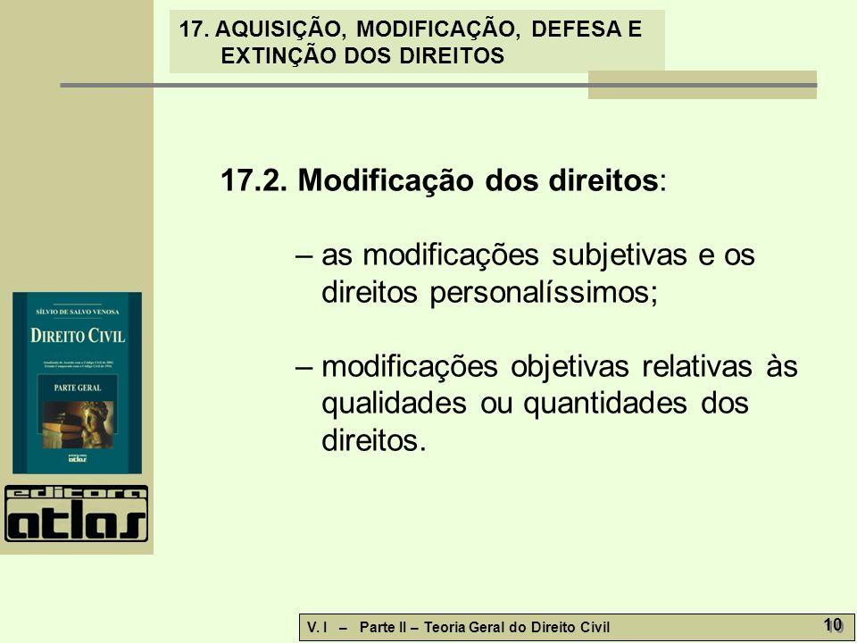 17.2. Modificação dos direitos: