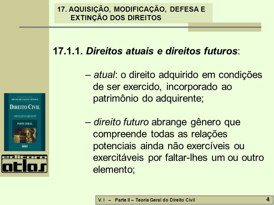 17.1.1. Direitos atuais e direitos futuros: