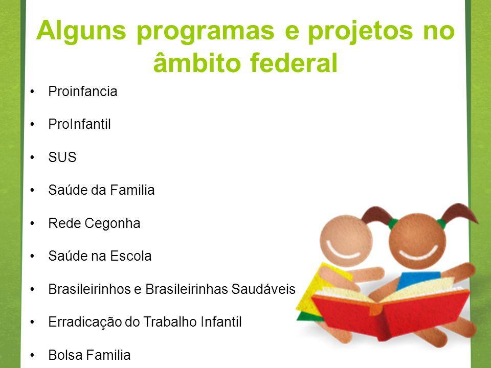 Alguns programas e projetos no âmbito federal
