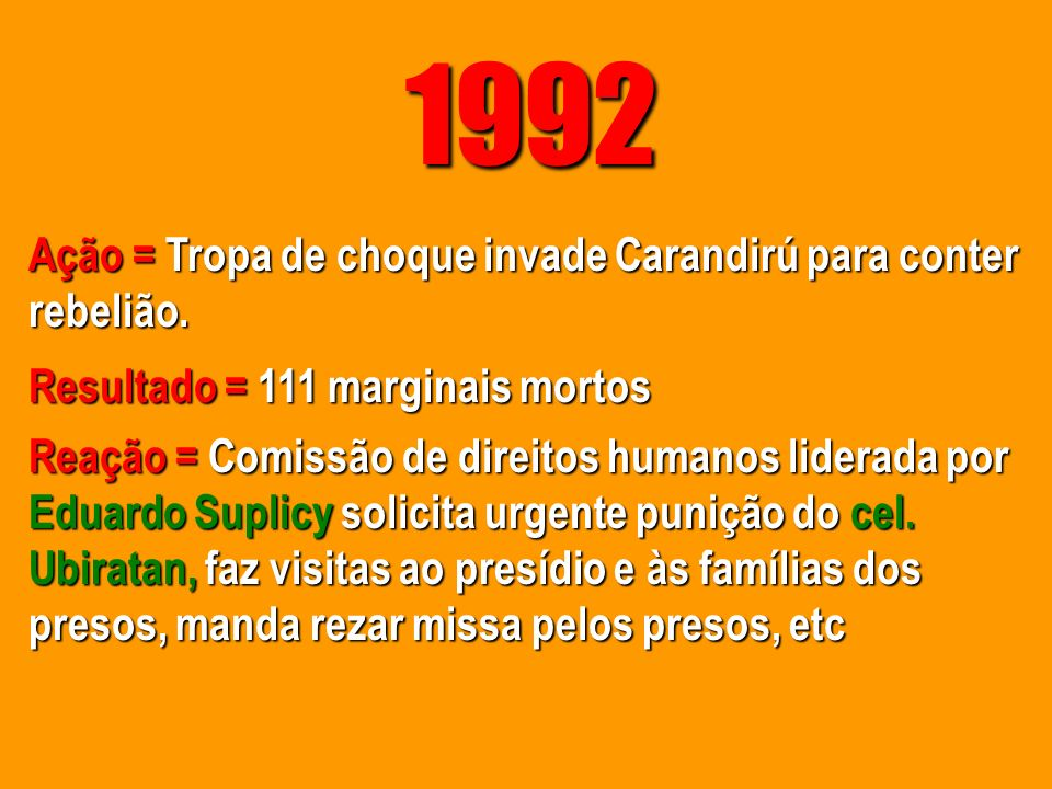1992 Ação = Tropa de choque invade Carandirú para conter rebelião.