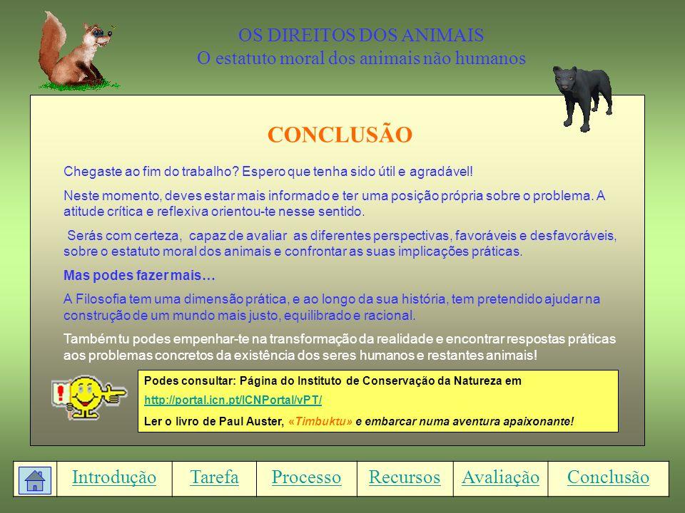 CONCLUSÃO OS DIREITOS DOS ANIMAIS