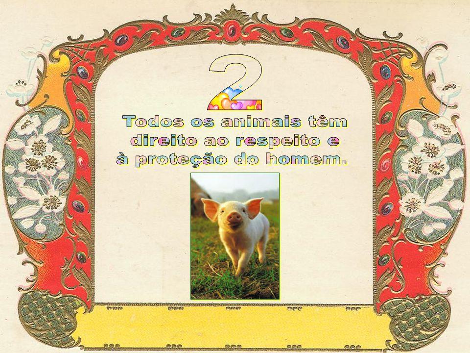 2 Todos os animais têm direito ao respeito e à proteção do homem.