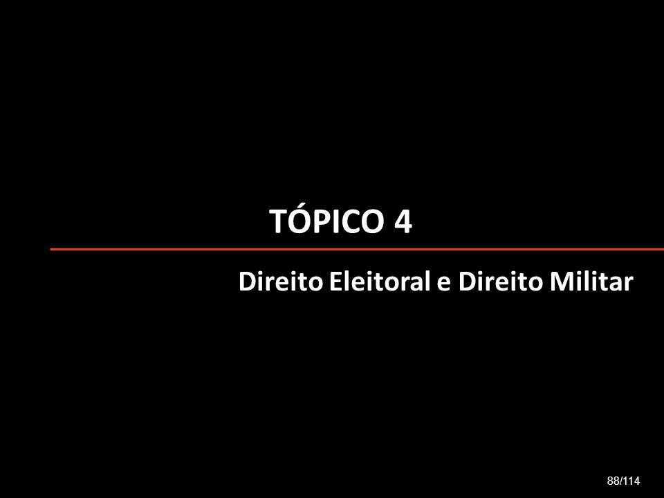 TÓPICO 4 Direito Eleitoral e Direito Militar 88/114