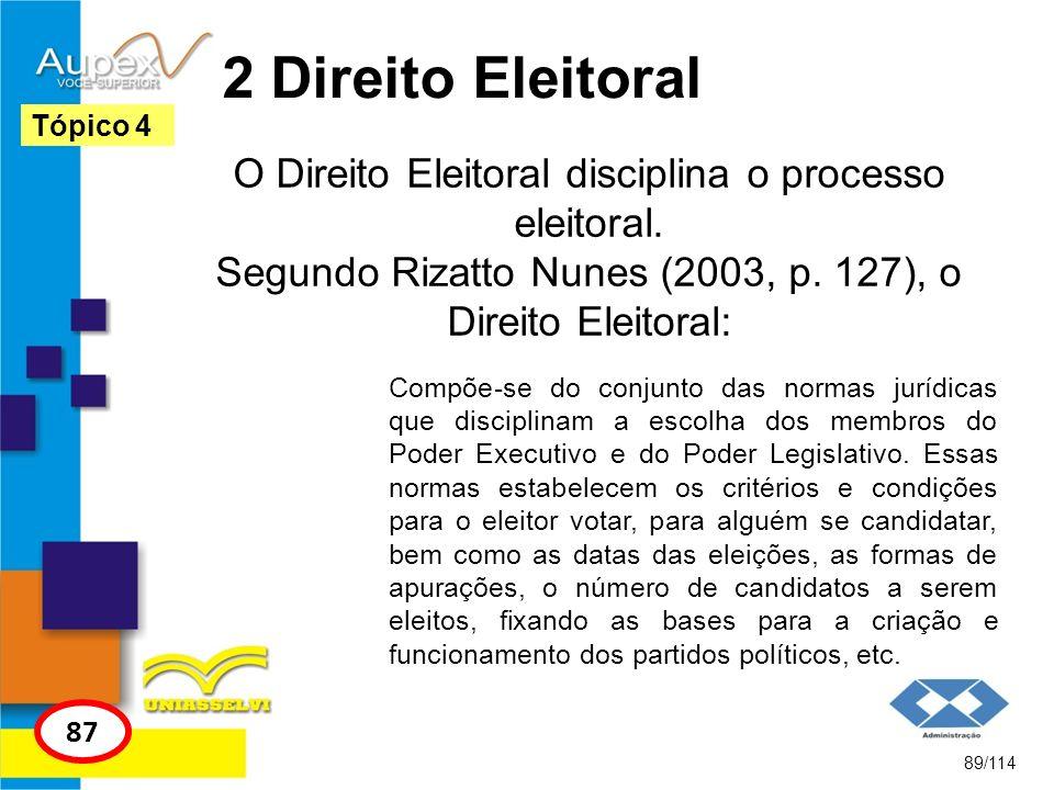 2 Direito Eleitoral Tópico 4. O Direito Eleitoral disciplina o processo eleitoral. Segundo Rizatto Nunes (2003, p. 127), o Direito Eleitoral: