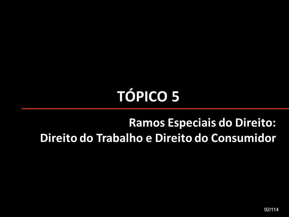 TÓPICO 5 Ramos Especiais do Direito: