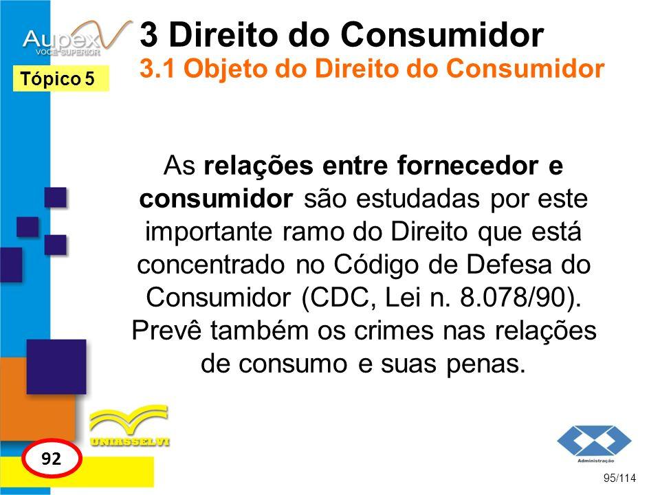 3 Direito do Consumidor 3.1 Objeto do Direito do Consumidor