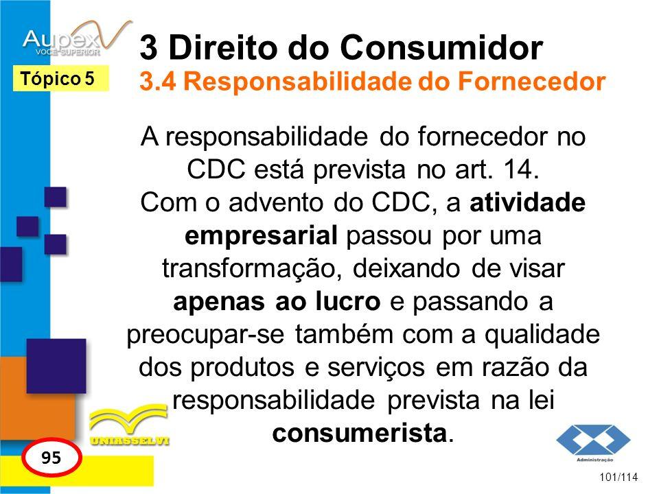 3 Direito do Consumidor 3.4 Responsabilidade do Fornecedor