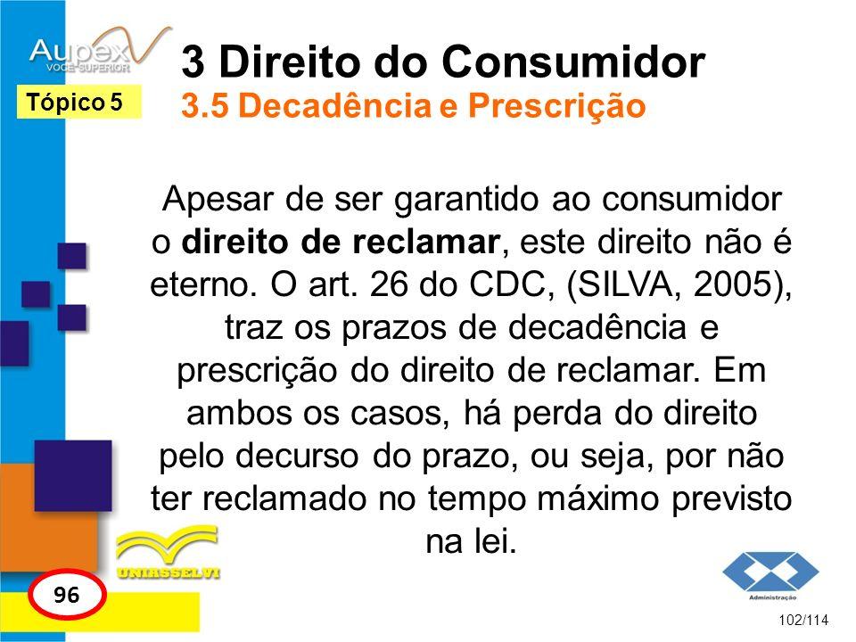 3 Direito do Consumidor 3.5 Decadência e Prescrição