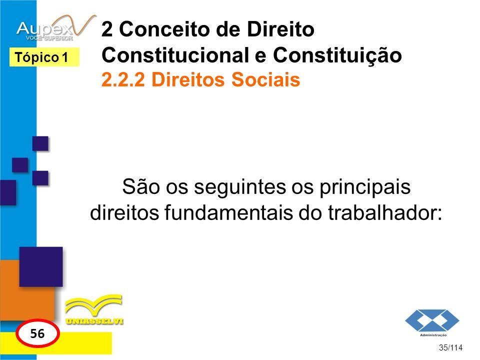 São os seguintes os principais direitos fundamentais do trabalhador: