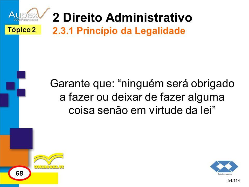 2 Direito Administrativo 2.3.1 Princípio da Legalidade